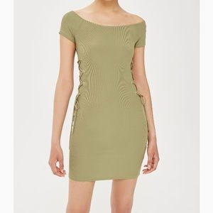 Topshop Green Ribbed Lace Up Bodycon Dress